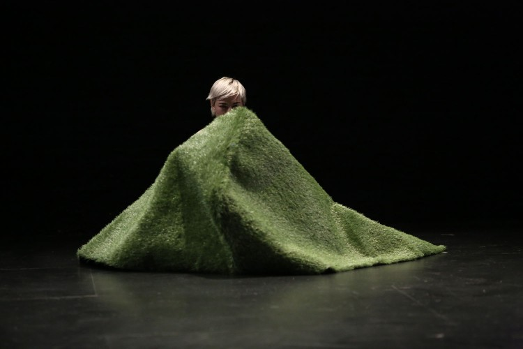 There is a mountain made with plastic grass. Behind it, the head of a performer named Arantxa peeking out with blonde hair.